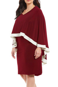 Burgundy Contrast Trim Capelet Plus Size Poncho Dress