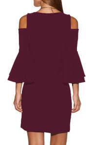 Burgundy Flare Sleeve Cold Shoulder Mini Dress