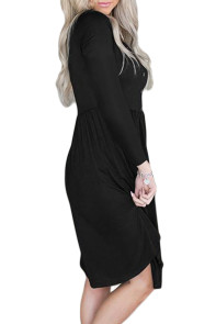Black Long Sleeve Button Ruffled Irregular Hem Swing Dress