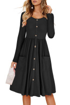 Black Casual Button Down Long Sleeve Swing Dress