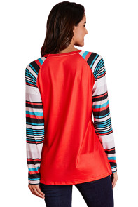 Red Letter Print Striped Long Sleeve T-shirt