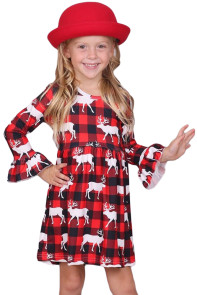 Girls Reindeer Allover Plaid Ruffled Christmas Dress