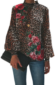 Leopard Peony Print Smocked Long Sleeve Blouse