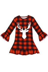Girls Reindeer Graphic Plaid Ruffled Christmas Dress