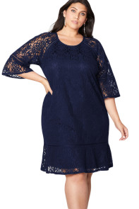 Navy Crochet Lace Overlay Plus Size Midi Dress