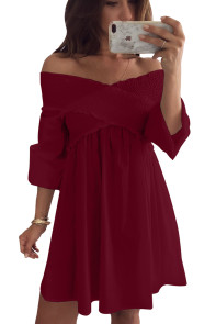 Wine Crossed Smocking Off Shoulder Mini Dress