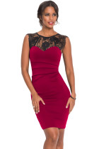 Sheer Lace Yoke Burgundy Sleeveless Bodycon Dress