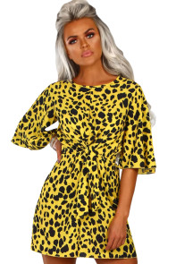 Yellow Leopard Print Tie Waist Mini Dress
