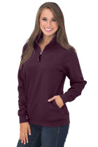Burgundy Pocket Style Quarter Zip Sweatshirt