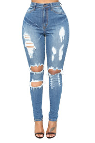 Light Blue Denim Distressed Skinny Jeans