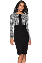 Black Houndstooth Patchwork Pencil Midi Dress