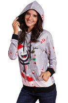 Gray Christmas Pullover Funky Pattern Hoodie