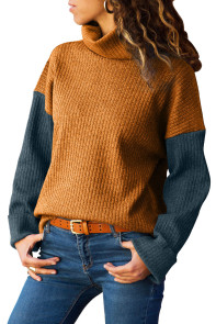Mustard Blue Color Patchwork Ribbed High Neck Sweater