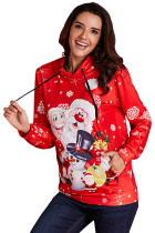 Red Christmas Pullover Santa Claus and Snowman Hoodie