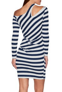 Navy Striped Asymmetric Shoulder Cutout Mini Dress