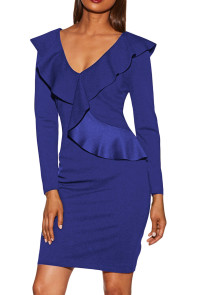 Royal Blue V Neck Long Sleeve Ruffle Dress