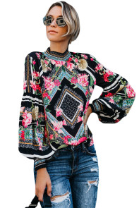 Black Bohemian Floral Print Smocked Long Sleeve Blouse