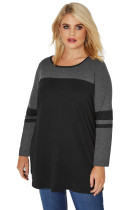 Black Charcoal Color Block Long Sleeve Plus Size Top