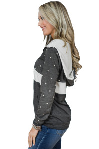 Snowy Dot Charcoal White Color Block Hoodie