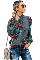 Gray Plaid Tropical Print Smocked Long Sleeve Blouse