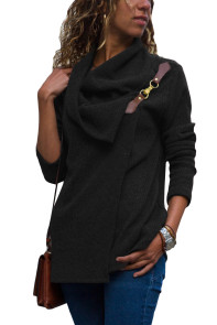 Black Ribbed Knit Wrap-over Cowl Neck Sweater
