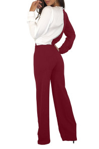 Burgundy White Asymmetric Wide Leg Jumpsuit