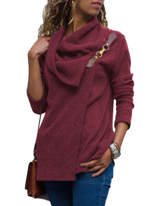 Burgundy Ribbed Knit Wrap-over Cowl Neck Sweater