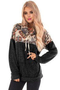Black Tribal Cowl Neck Kangaroo Pocket Sweatshirt