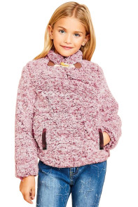 Red Long Sleeve Fleece Pullover Sweater for Girls