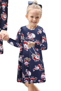 Navy Santa Claus Printed Girls Christmas Dress