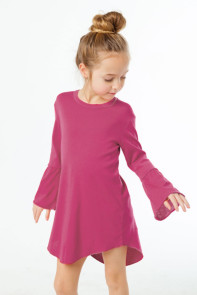 Rosy Flared Long Sleeve Shirttail Baby Girl Dress