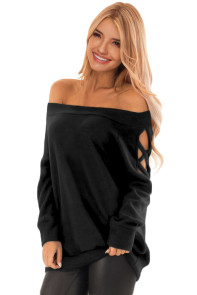 Black Crisscross Cutout Long Sleeve Off Shoulder Top