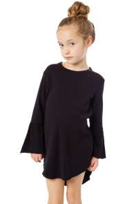 Black Flared Long Sleeve Shirttail Baby Girl Dress