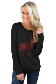 Black Reindeer Sequined Christmas Sweatshirt