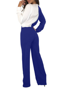 Royal Blue White Asymmetric Wide Leg Jumpsuit