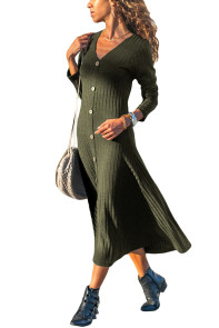 Army Green Button Front Long Sleeve Ribbed Maxi Dress