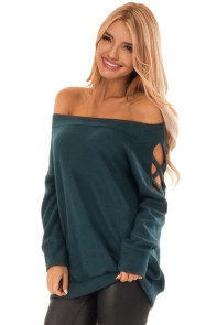Dark Turquoise Crisscross Cutout Long Sleeve Off Shoulder Top