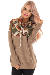 Brown Tribal Cowl Neck Kangaroo Pocket Sweatshirt