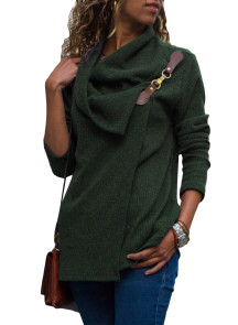 Olive Ribbed Knit Wrap-over Cowl Neck Sweater