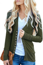 Green 3/4 Sleeve Snap Cardigan