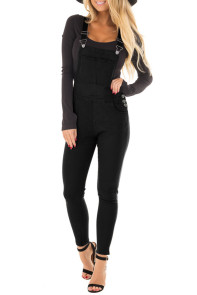 Solid Black Denim Overall for Women