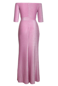 Hot Pink Metallic Glitter Off Shoulder Maxi Party Dress