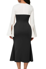 Long Bell Sleeve Black Sweetheart Patchwork Midi Dress