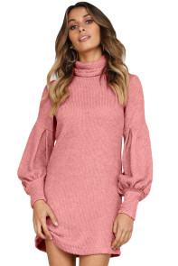 Dusty Pink Corduroy Ribbed High Neck Mini Dress
