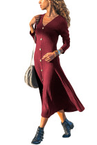 Burgundy Button Front Long Sleeve Ribbed Maxi Dress