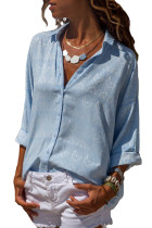 Light Blue Graphic Geometry Button Down Blouse