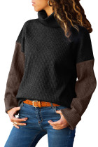Black Brown Color Patchwork Ribbed High Neck Sweater