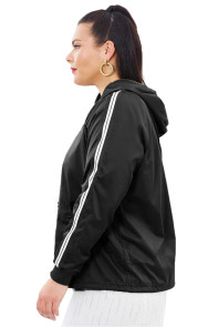 Black Striped Sleeve Hooded Parker Jacket