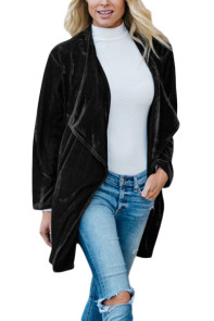 Black Draped Open Front Velvet Jacket