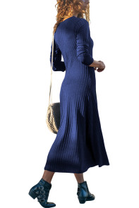 Blue Button Front Long Sleeve Ribbed Maxi Dress